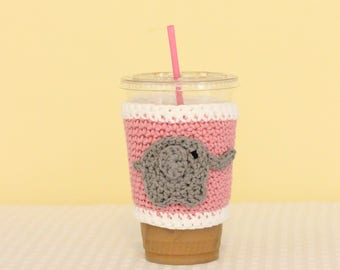 Elephant Coffee Cup Cozy, Crochet Coffee Cozy, Crochet Coffee Cup Sleeve, Coffee Lover Gift, Tea Lover Gift