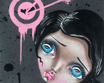 Mixed Media Big Eye Kawaii Giclee Art Print Signed Reproduction Bulls Eye by Lizzy Love [IMG#23]