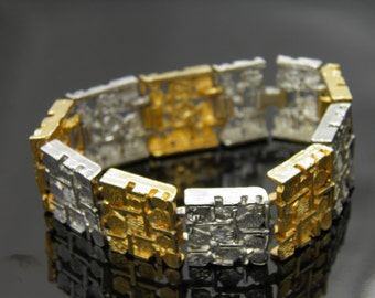 Vintage Gold And Silver Tone Geometric Shapes Bracelet