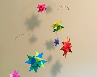 Baby Crib Mobile Origami Paper Stars -'Carina' Multi