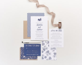 Winter Wedding Collection, Ski Slopes and Resort, Pinecones and Holly, Custom Wedding Collection