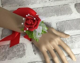 Red Tied Wrist Corsage, Ribbon Bracelet, Rose wrist corsage, red bracelet, rose bracelet, Red corsage, ladies tie corsage, woman's corsage