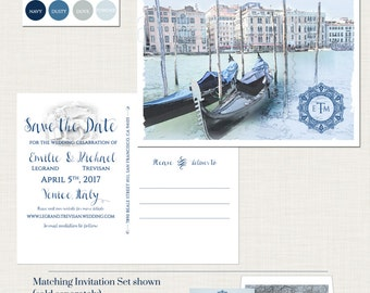 Destination wedding Venice Italy Italian Wedding Save the Date Postcard blue European illustrated wedding invitation Deposit Payment