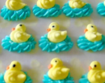 Royal icing ducks on water - set of 4  Perfect for Easter cupcakes, chocolates, baby shower favors, & Panoramic Sugar Easter Egg scenes
