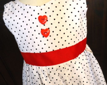 Queen of Hearts Polka dot Dress - Size 4