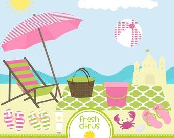 Beach Clip Art Summer Clip Art Beach Chair Pink Crab Sand Dollar Waves Sandcastle Beach Party Tote Bag