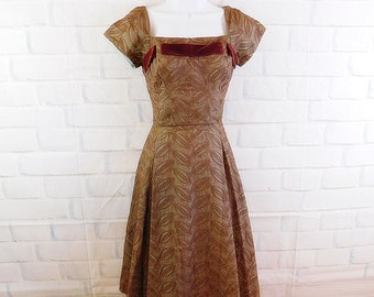 Vintage 50s David Hart cocktail party dress with velvet bow