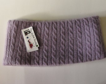 Upcycled Purple Cabled Cashmere Earwarmer Headband