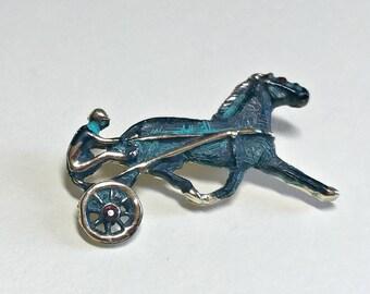 Vintage harness racing brooch, horse brooch, horse and surrey brooch, horse and jockey brooch, horse racing brooch, Tally Ho, 1960s