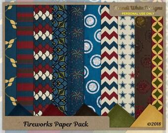 Digital Scrapbooking Background Paper: Fireworks