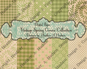 10 Victorian Vintage Whimsical Shabby Cream Spring Green St Patrick's Day Digital Paper Pack Collection Collage Printable