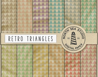 BUY5FOR8 Retro Digital Paper Retro Triangles Paper Retro Backgrounds Digital Scrapbooking 12 JPG 300 DPI Files Download