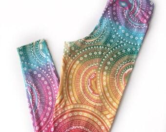 Colorful Leggings - Women's Leggings -Bright Leggings -Leggings -Rainbow Leggings - Fashion Leggings - Medallion Leggings - Leggings Printed