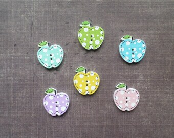 20 wooden buttons shaped Fruit Apple