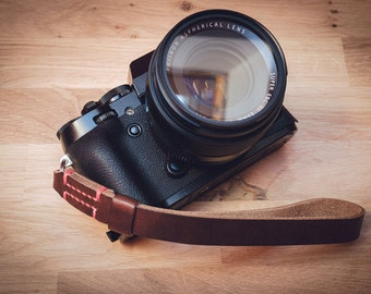 Leather Camera Wrist Strap, Horween Leather camera strap, leather wrist strap, brown camera strap, black camera strap, thin wrist strap