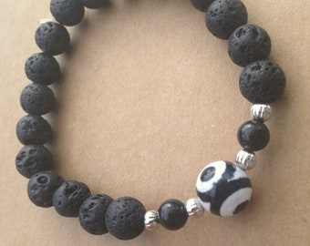 Black Lava Bead Diffuser Bracelet with Large Black and White Agate Eye Gemstone