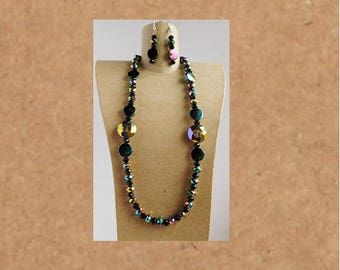 Iridescent Crystal and Shell necklace set