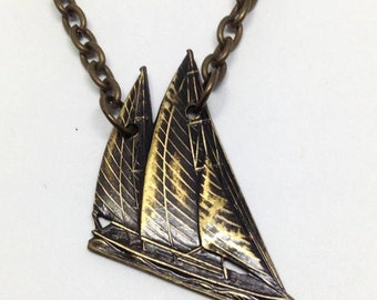 Sailboat Necklace, Antiqued Sailboat necklace, Brass Sailboat Necklace, Sailing Necklace, Nautical Jewelry, Imperfection, Uneven antiquing