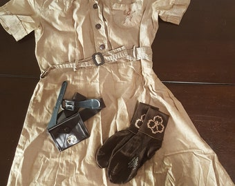 1940s Brownie Uniform with socks, 2 belts with coin purse, hat