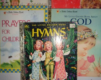 Little Golden Books 5 Prayers Hymns Verses God Children's Books Lot