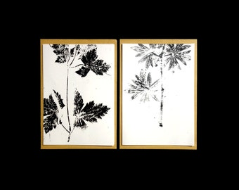 Card with black and white monoprint of leaves. Folded, blank inside, with envelope.