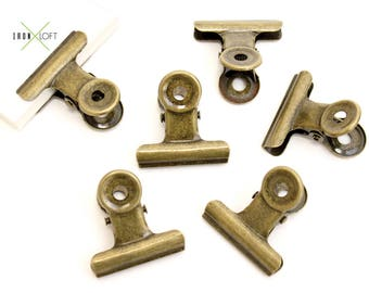 6 Metal Clips Antique Gold 31mm