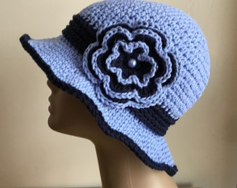 Women's crochet  sun hat, summer / spring, COTTON,  Blue, navy, removable flower,  Ready to ship.  S53