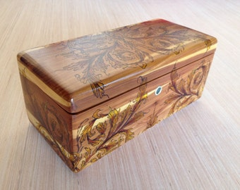 Custom Pyrography Art Commission on Small Wood Box, Chest, or Case - Personalized Art on Wood - Wood Burned Art Box - Pyrographic Art