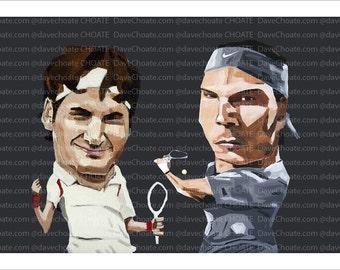 Roger Federer and Rafael Nadal Art Photo Print