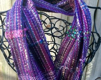 Handwoven Scarf SAORI Purple Delight