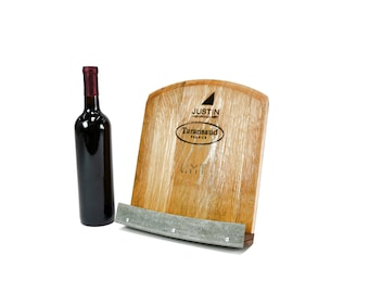 SALE - Wine Barrel Cookbook / Tablet Holder made from reclaimed Napa wine barrels - 100% Recycled!  - Recipe Holder