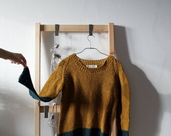 Crunchy Leaves Sweater in Dorè+Cyprés, Winter Sweater, top down pullover, oversized minimal knitwear