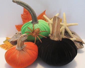 Velvet Pumpkin Trio -  Autumn Decor / Halloween mix - with real stems