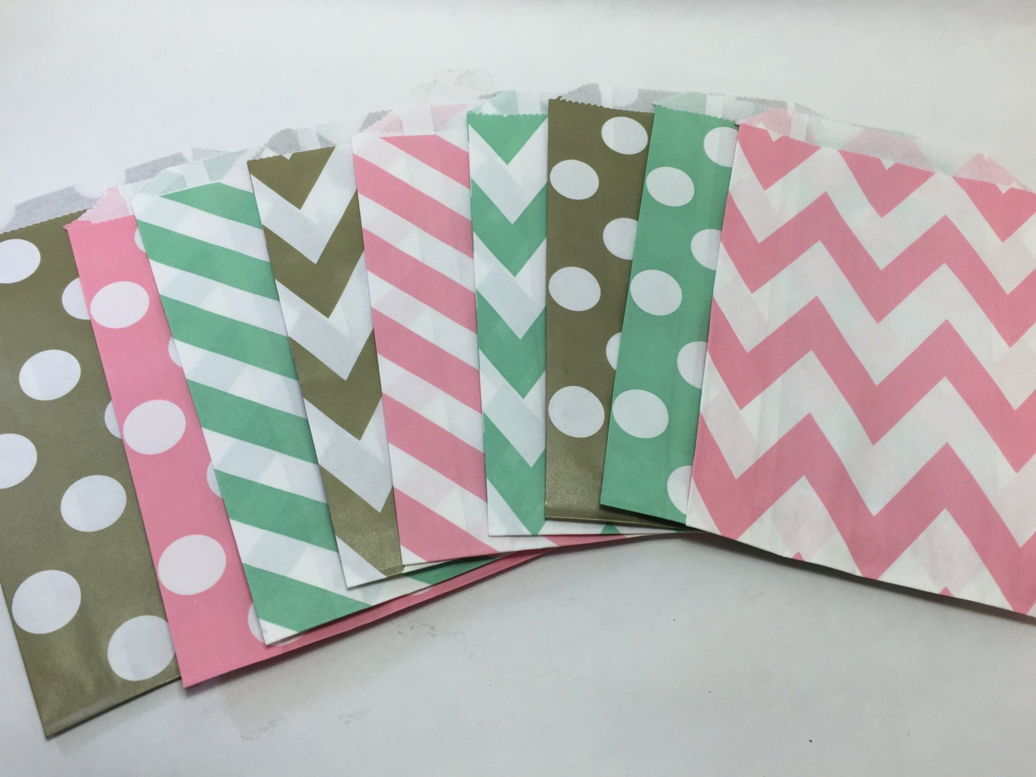 Pink Mint green Blush and GoLD Chevron PoLKa Dot dotted striped ...