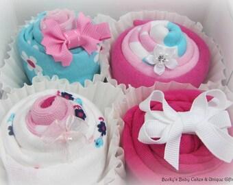 Unique Baby Gift, Baby Shower Gift Set, Onesie Cupcakes, Baby Girl Gift, Baby Shower Gift, Pregnancy Gift Basket, Washcloth Cupcake