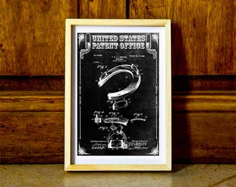 Horseshoe Patent – Patent Print, Wall Decor, Horse Art, Horse Decor, Equestrian Patent, Barn Art, Equestrian Decor, Farm Art, Horse Poster