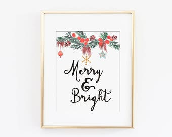 Merry and Bright Holiday Art Print, Winter Wall Art, Christmas Art Print, Christmas Decor, Holiday Decor, Printable Art, Instant Download