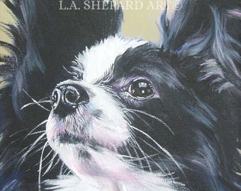 PAPILLON Dog PORTRAIT art canvas PRINT of LAShepard painting 8x8""