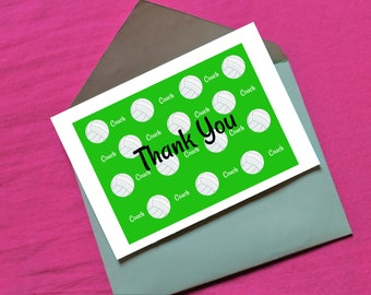 Volleyball Coach Thank You in green - digital download- 7 x 5
