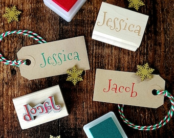 Personalised Christmas First Name Rubber Stamps - Personalized Stamp - Custom Stamper - Stocking Stuffer Filler - Teen Gift  - Craft