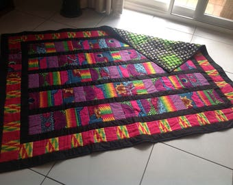 African Wax Print Quilt 'Pink Profusion'