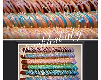 Baby Shower pretzel -   Blue and Pink Baby Shower Chocolate Covered pretzels -set of 12