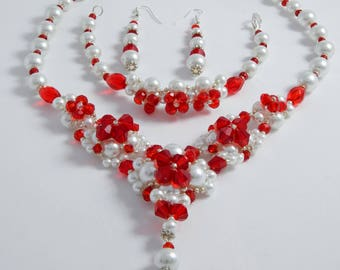 Royal white and red pearls set