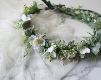 Woodland crown, ivory flower wreath, ivory halo, Faerie crown, woodland hairpiece, eucalyptus crown, woodland wedding, statement crown