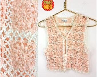 Cute Vintage 90s White & Pastel Pink Crochet Mini Cropped Vest