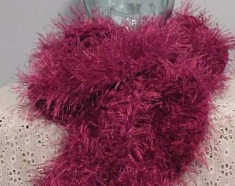 Spiral faux fur and chenille scarf in light burgundy 70""