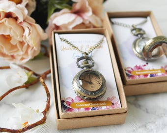 Watch necklace, long necklace, pendant necklace, bridesmaid gift, quirky necklace, watch necklace, alice in wonderland, charm necklace