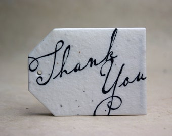 """Thank You Tags 2.5"""" wide by 3.375"""" tall Wildflower Seed handmade paper for Weddings, events or gifts"""