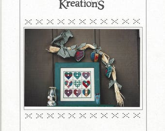 "Clearance - ""Buttoned Hearts"" Counted Cross Stitch Chart by Poppy Kreations"