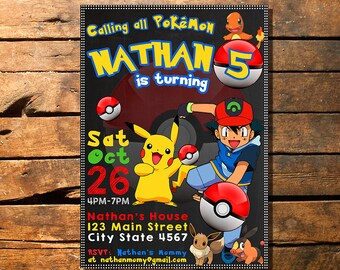 Pokemon invitation, Pokemon birthday invitation, Pokemon invitations, Pokemon Invite, Pokemon Go